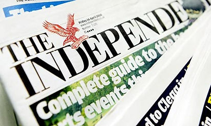 A frontpage of The Independent