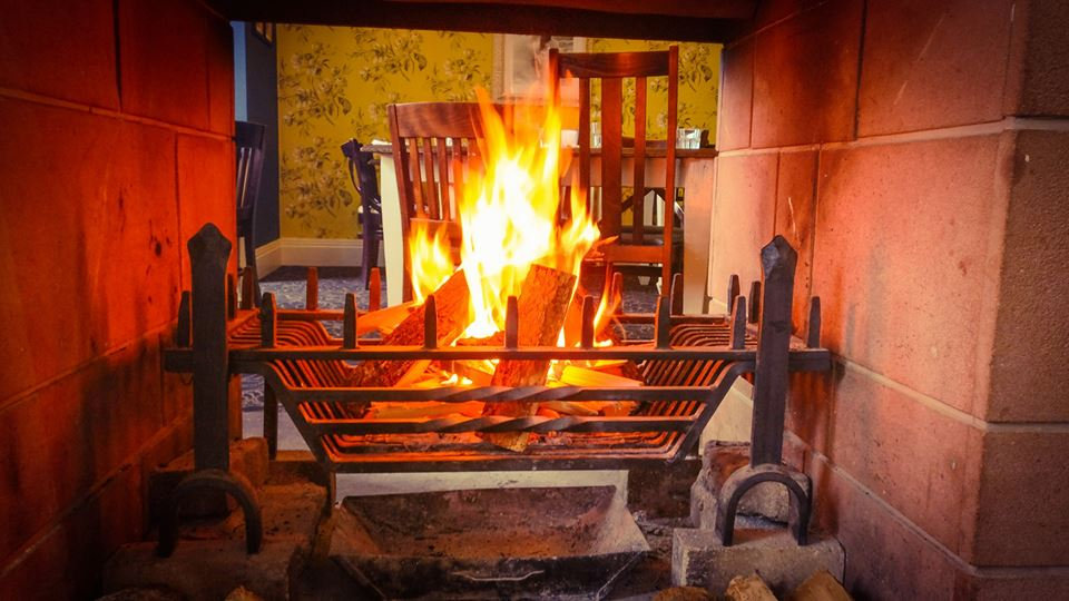 The roaring log fire