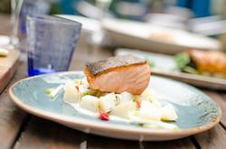 Fresh salmon dish in the garden