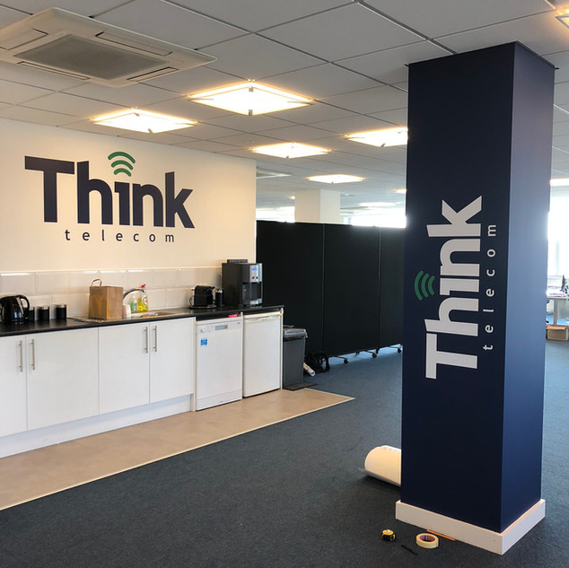 Corporate signage and wall graphics in corporate colour scheme
