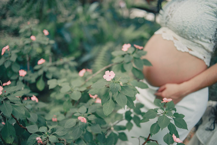 Canva - Pregnant Standing Near the Flowe