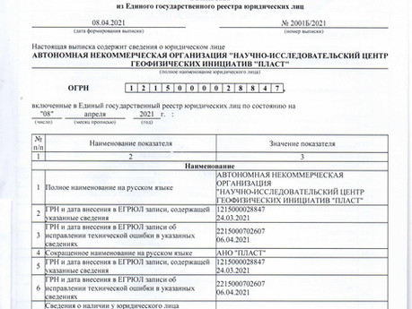 "Создание АНО ""ПЛАСТ"""