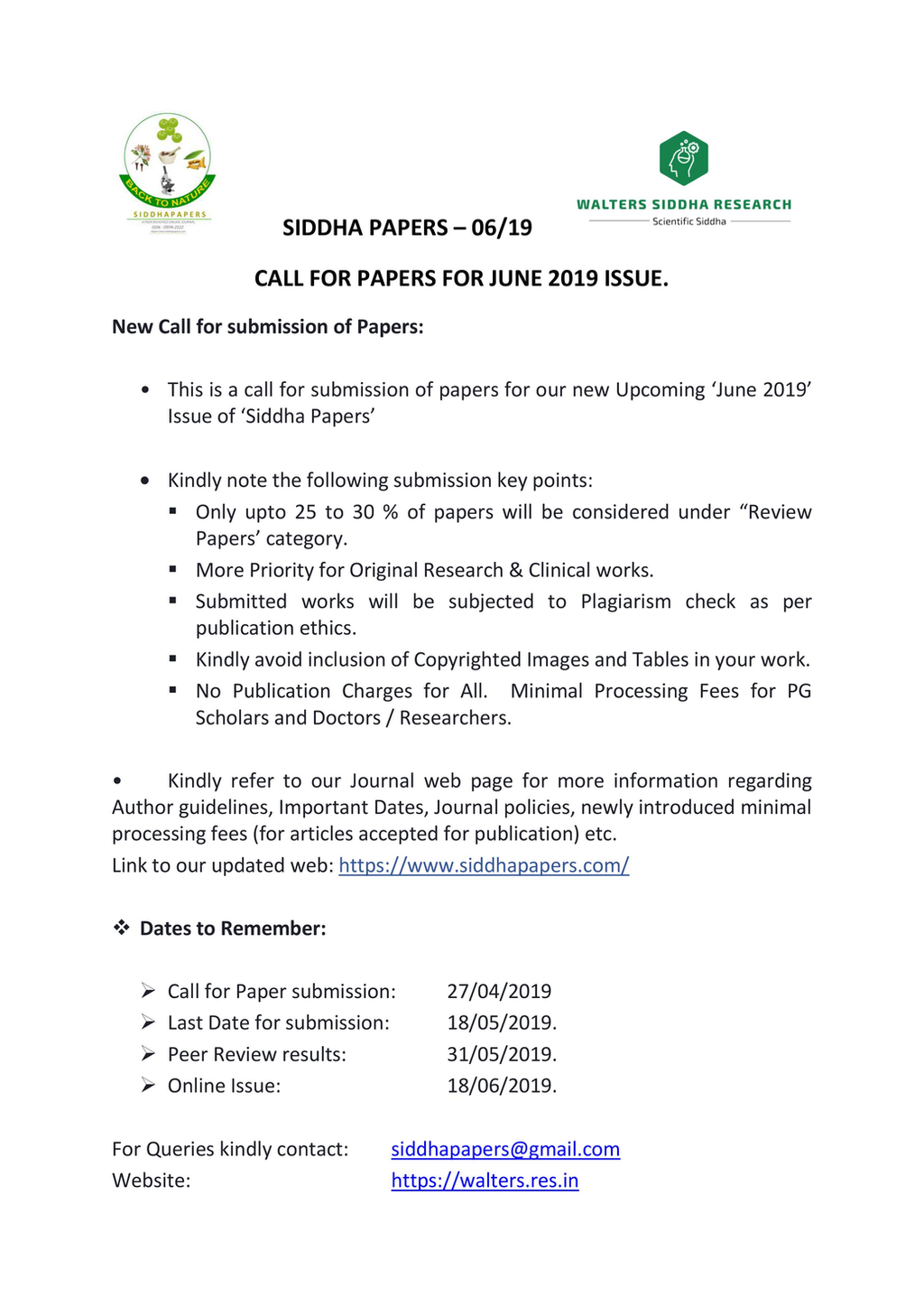 Call for Papers - June 2019 issue