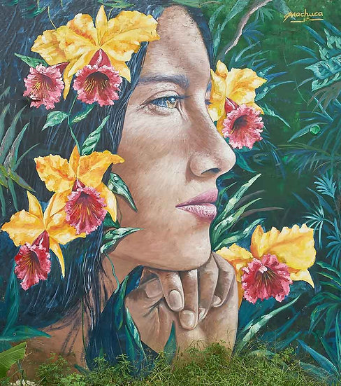 Girl with Flowers - Artist: Machuca