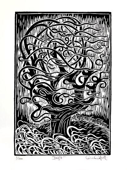 Drift Black and White Lino Cut print