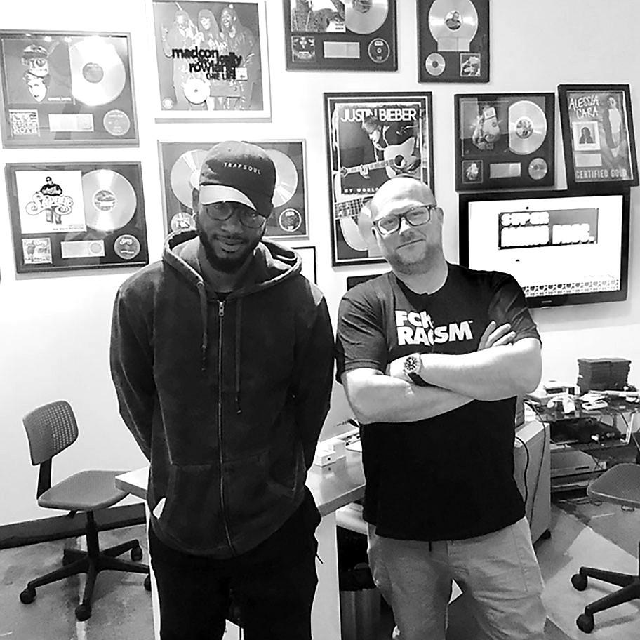 Bryson Tiller and Colin Leonard in the studio.