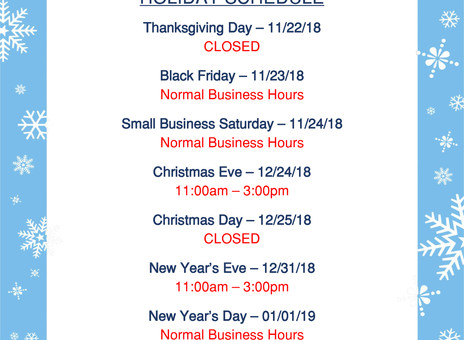 2018 Meltz Holiday Schedule