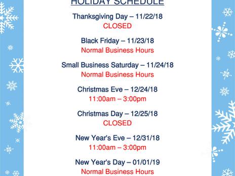 2018 Meltz Holiday Schedule