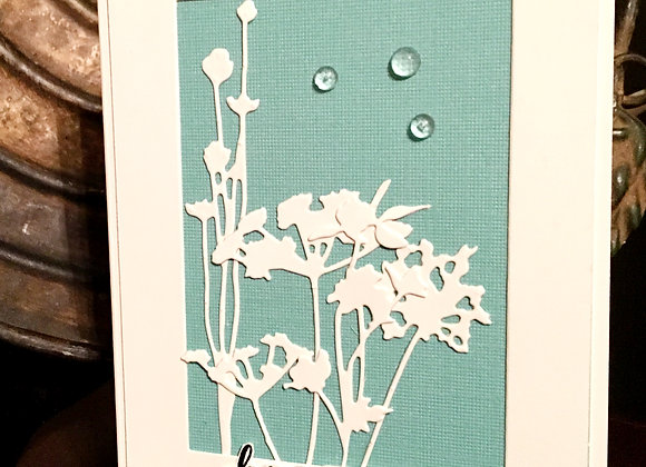 "White Wild Flowers on White Base Birthday Card 4.25"" x 5.5"""