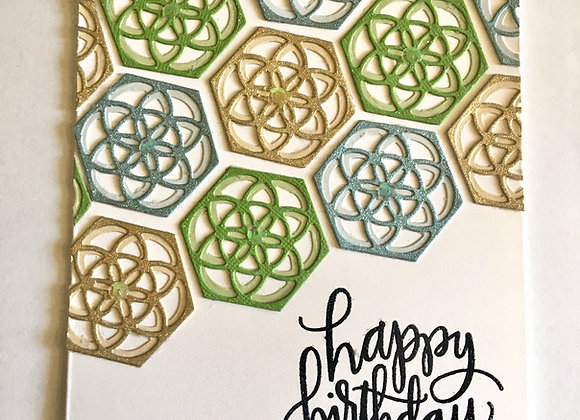 "Shimmer Geo Birthday Card 5"" x 7"""