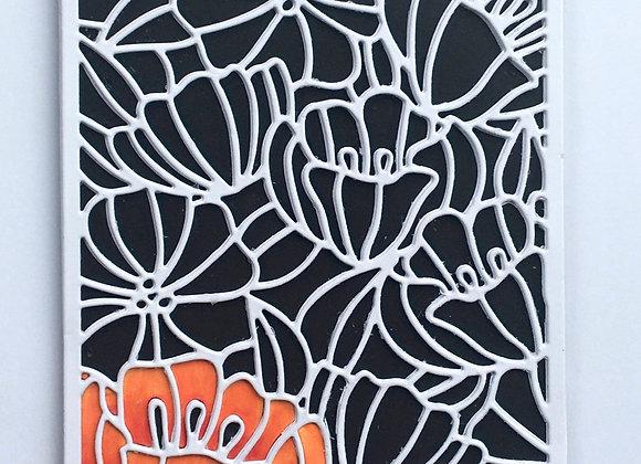 "Bright Floral of Spring Orange/White on Black Base Birthday Card 5""x7"""