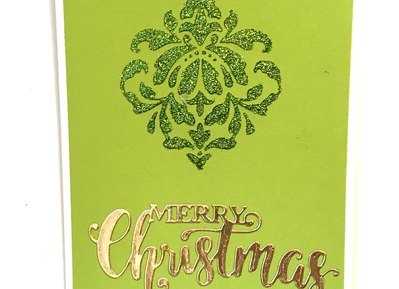 Green Glittered Mandala and Gold Merry Christmas