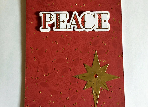 "Gold Christmas Peace on Red 4.25"" x 5.5"" Religious Greeting"