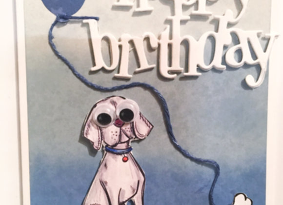 "Bugged Wiggle Eyed Dog Birthday Card 5"" x7"""