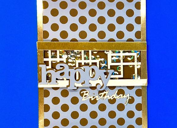 "Blue, Brown, & Gold Shaker Card 5"" x 7"""