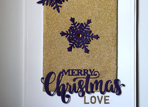 "Christmas Love, Purple Snowflakes, Gold Glitter 5"" x 7"", General Greeting"