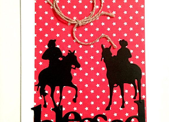 """Cowboys on Horses Blessed Silhouette  Blank Series, 4.25"""" x 5.5"""""""