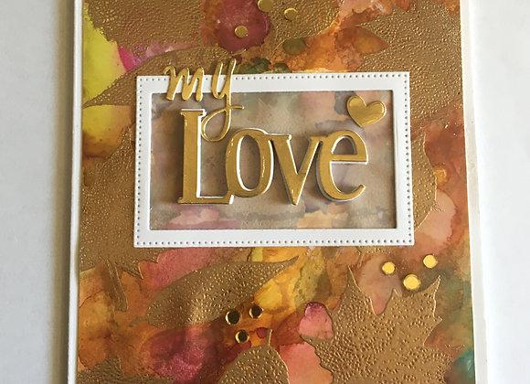 "Lovely Rustic Metallic Leaf Card You 5"" x 7"""