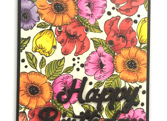 "Bright Floral Bunches of Spring Colors on Black Base Birthday Card 4.5"" x 5.5"""