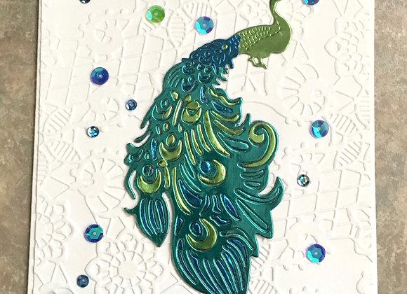 """Metallic Peacock Greeting 5"""" x 7"""""""