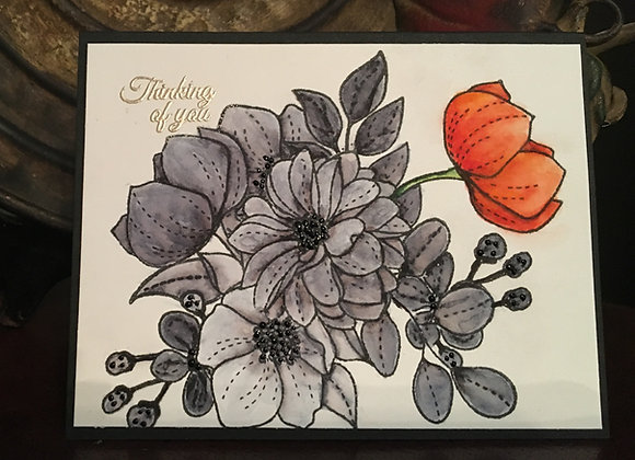 "Black and Orange Watercolor Encouragement Flowers, 4.25"" x 5.5"""