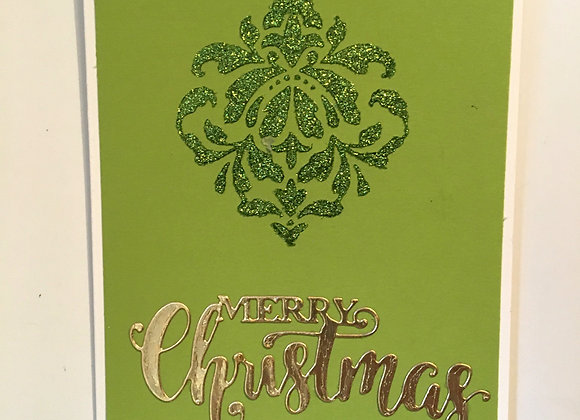 Green Glittered Mandala & Gold Merry Christmas 5 x 7, Religious Greeting