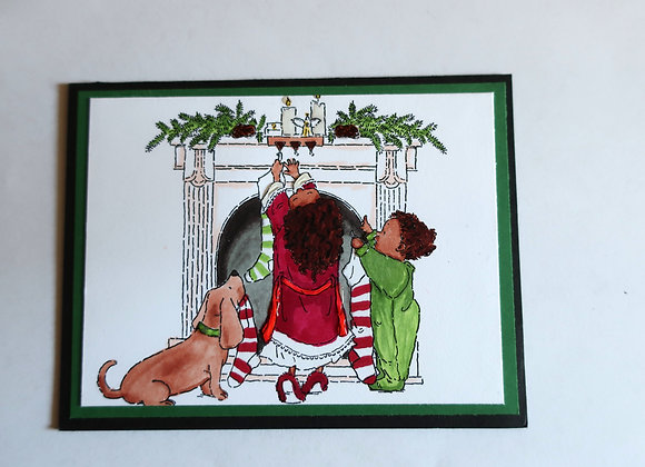 Children Hanging Christmas Stockings 5 x 7, Religious Greeting