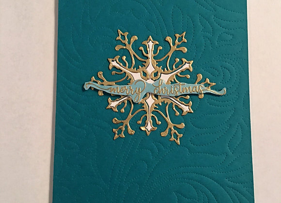 Emerald Christmas Card with White & Gold Snowflakes 5x7, Religious Gre