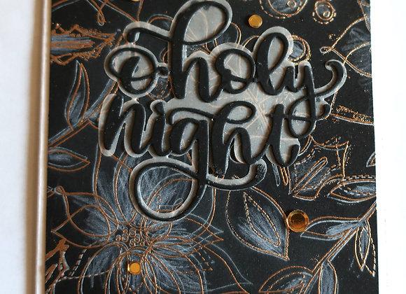 """O'Holy Night, Poinsettias, Black & Gold 5""""x7"""", Religious  Greeting"""