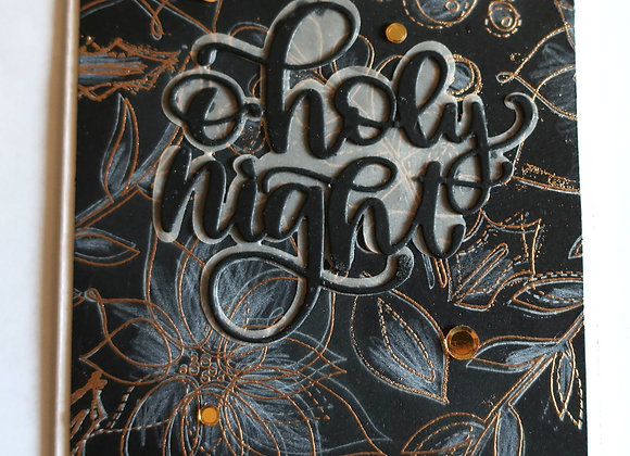"O'Holy Night, Poinsettias, Black & Gold 5""x7"", General  Greeting"