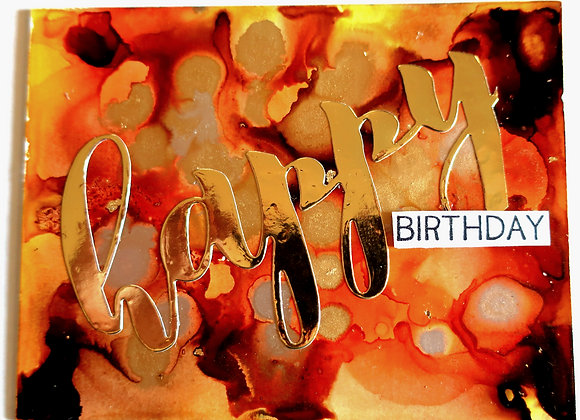 "Gold & Brown Happy Birthday 5"" x7"""