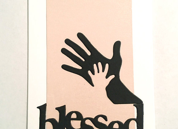 "Hand in Hand Pink Blessed Silhouette  Blank Series, 4.25"" x 5.5"""