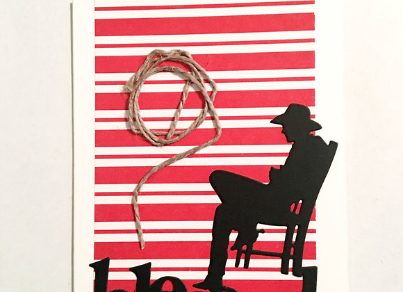 "Cowboy in Rocker Blessed Silhouette  Blank Series, 4.25"" x 5.5"""