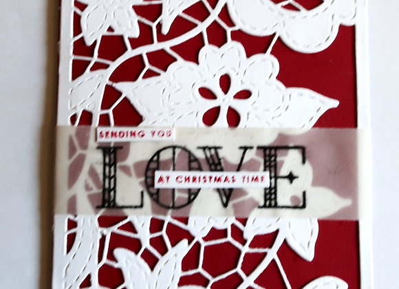 "White Christmas Flowers over Red Mat 5""x7"", Religious Greeting"