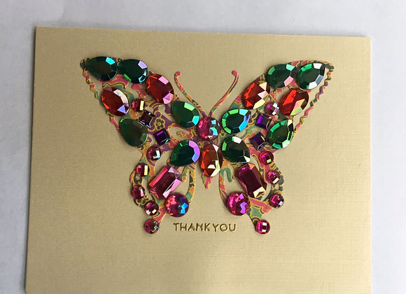 "Rainbow Gem Embellished Butterfly Thank You 5"" x 7"""