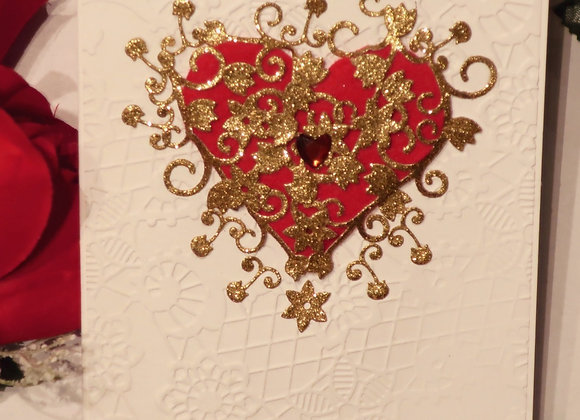 "Stunning Red/Gold Heart Valentine/Romance Card, 4.25"" x 5.5"""