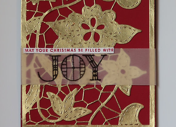 "Gold Foiled Christmas Flowers layered over Red Mat, 5"" x 7"", General Greeting"