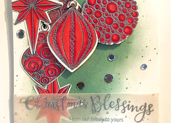 """Silver Embossed with Red Colored Christmas Ornaments 5""""x7"""", Religious Greeting"""