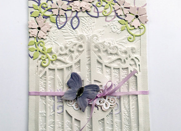 "Graceful White Opening Gate-w- Shades of Purple and Pink Sympathy, 5""x7"""
