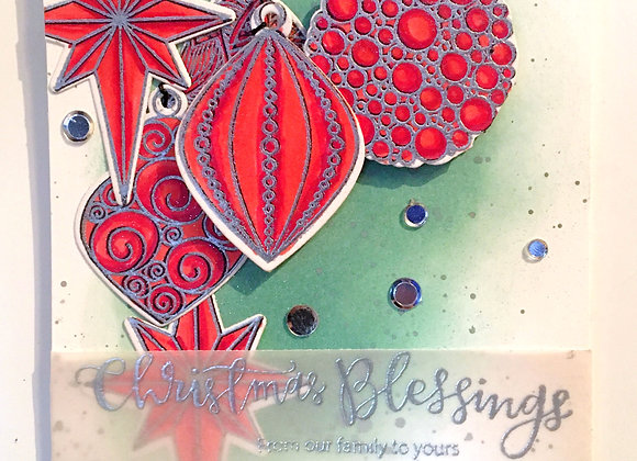 Silver Embossed and Red Alcohol Ink Ornament