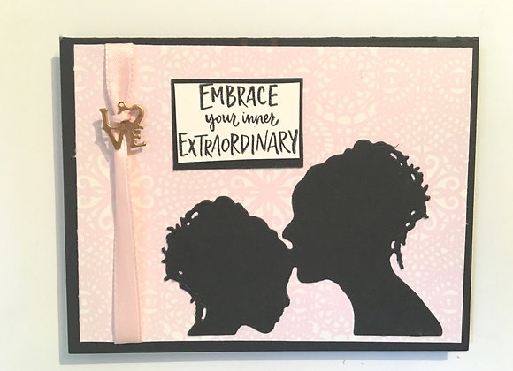 "Mother & Daughter Silhouette  Blank, 4.25"" x 5.5"""