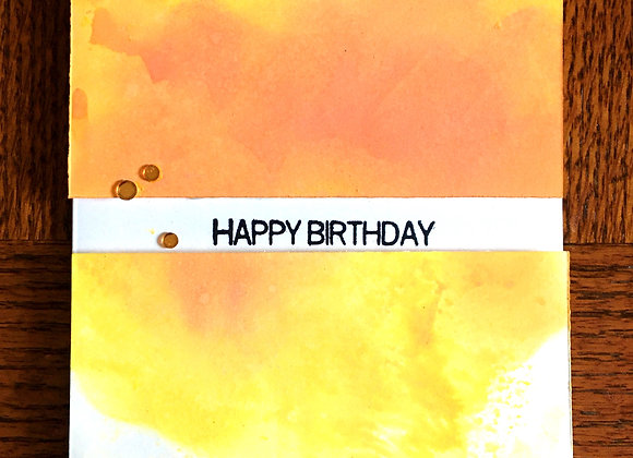 "Bright Orange & Yellow Watercolor Split Birthday Card, 4.25"" x 5.5"""