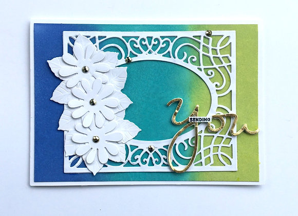"White Flowers Bright Framed Background, Birthday Card 5"" x 7"""