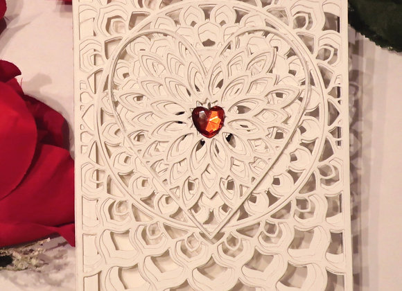 "White on White on White Filigree 5"" x 7"""