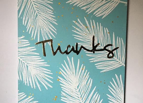 "Foliage on Turquoise Thank You 5"" x 7"""