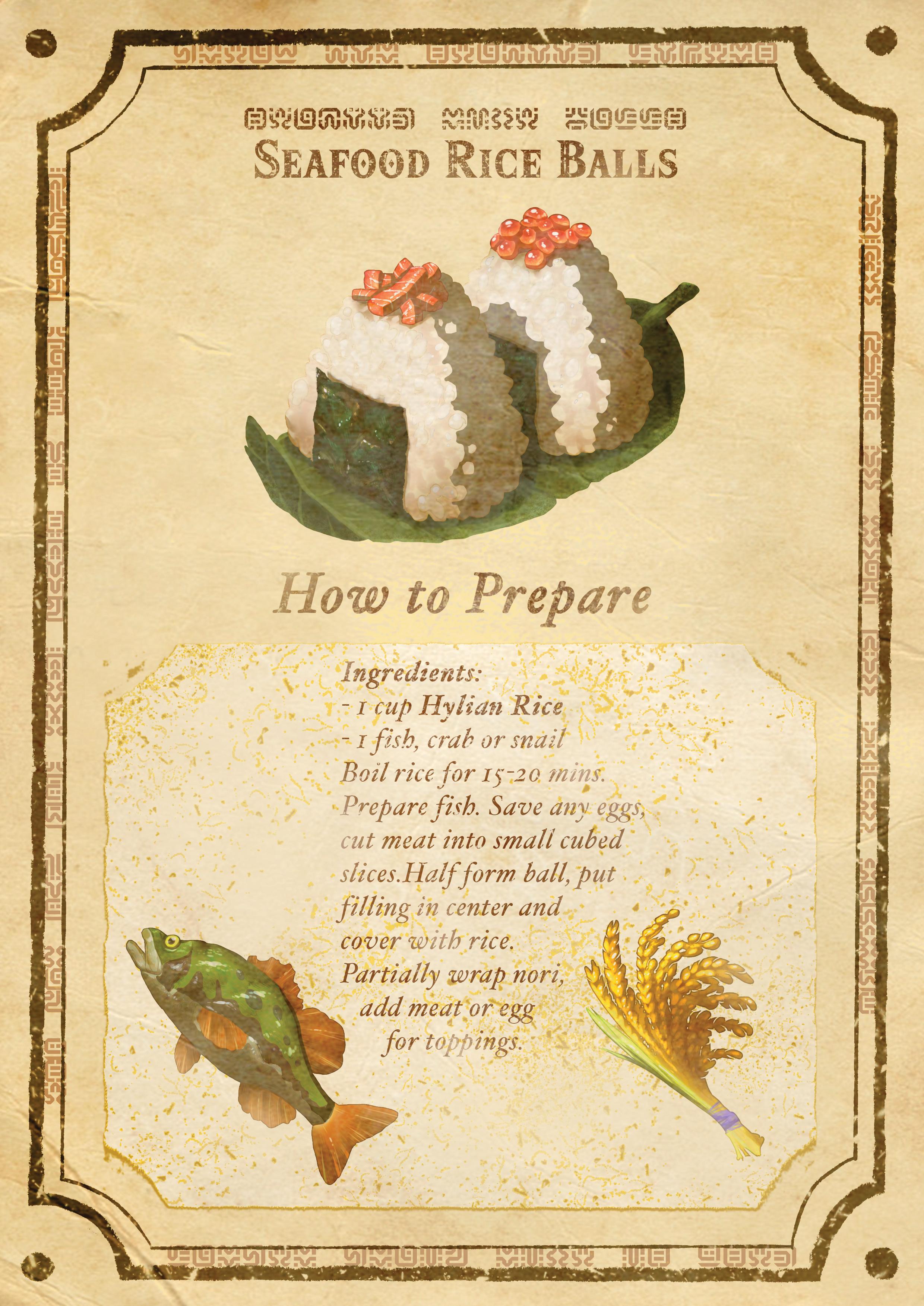 BotW Recipe Poster - SeafoodRiceBall
