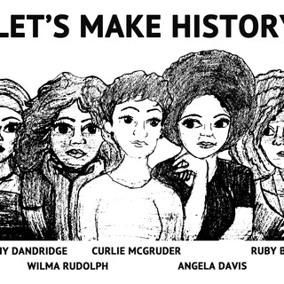 Lets Make History silk screen image, students printed these on paper for the Summer Bash.