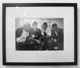 On April 27, 1964, civil rights demonstrators sat in Metro jail while waiting to make bond. From left to right: Lester McKinnie, one of the leaders; Allen Wolfe, a Vanderbilt student; William T. Barbee, a Scarritt student; and Frederick Leonard, a Tennessee A&I student. McKinnie had been subdued by police and treated for injuries at General Hospital. Photo by Jack Corn. Courtesy of The Tennessean