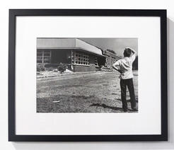 A perplexed little boy surveyed the damage done to Hattie Cotton School by dynamite. September 10, 1957. Photo by Bill Preston. Courtesy of The Tennessean