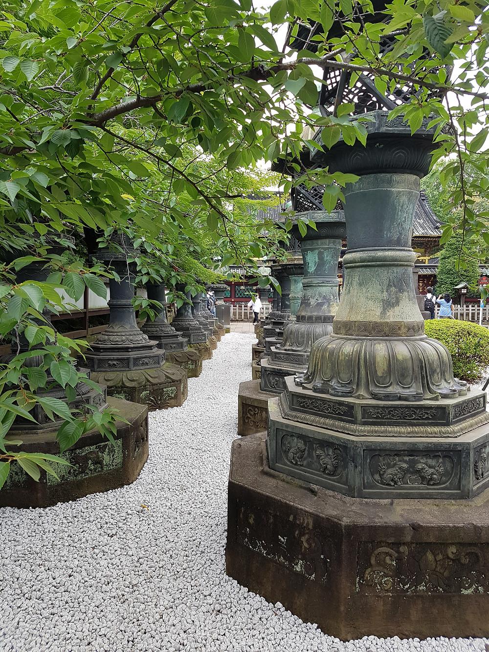 Steinlaternen beim Ueno Toshogu Schrein